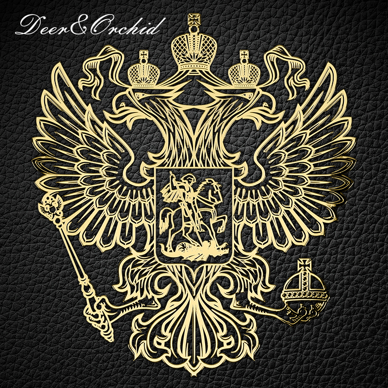 Metal Stickers Emblem Nickel Stationery con Smooth surface for Car Laptop Window Telephone Fridge Gold Badge of Russian Eagle