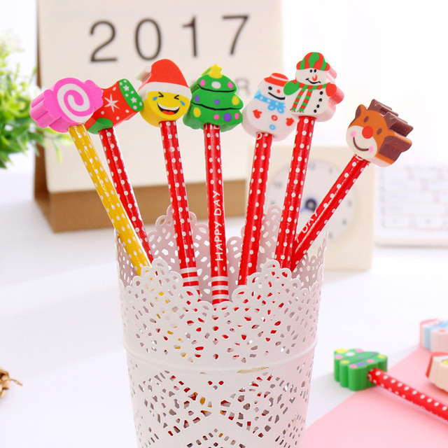 Us 3 55 29 Off 8pcs Xmas Pencil Christmas Characters Kids Loot Goody Party Bag Fillers Toys Primary School Student Writing A30 In Standard