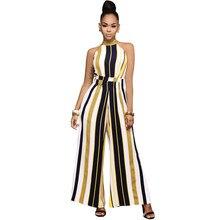 33e896103d1 Queen Wide Leg Jumpsuit For Women Lace up Striped Silk Jumpsuit Sexy Halter  Neck Sleeveless High