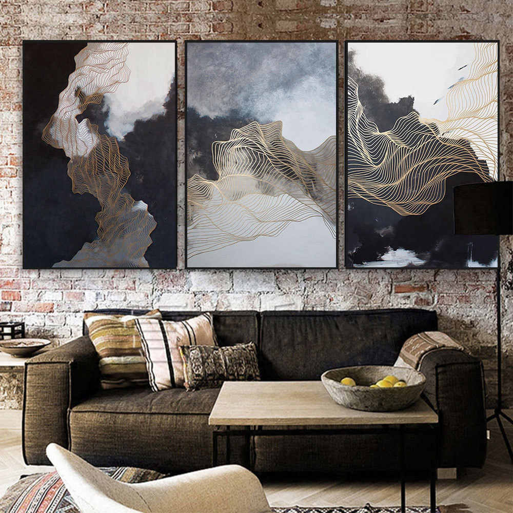 Metal Lines Black Cloud Abstract Painting Print Poster Modern Pictures wall art canvas Nordic home decor for Living Room Office