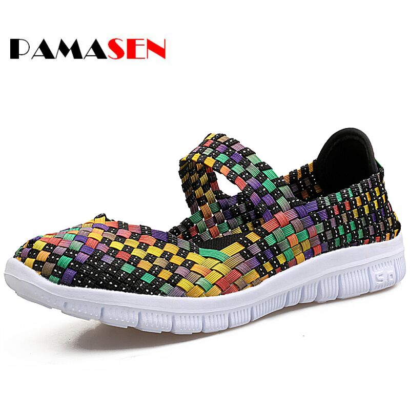 PAMASEN Brand Cheap Breathable Women Casual Shoes Summer Autumn Ultra-light Women's Mixed Color Weave Flat Shoes Female Loafers