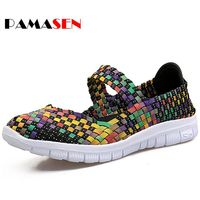 PAMASEN Brand Cheap Breathable Women Casual Shoes Summer Autumn Ultra Light Women S Mixed Color Weave