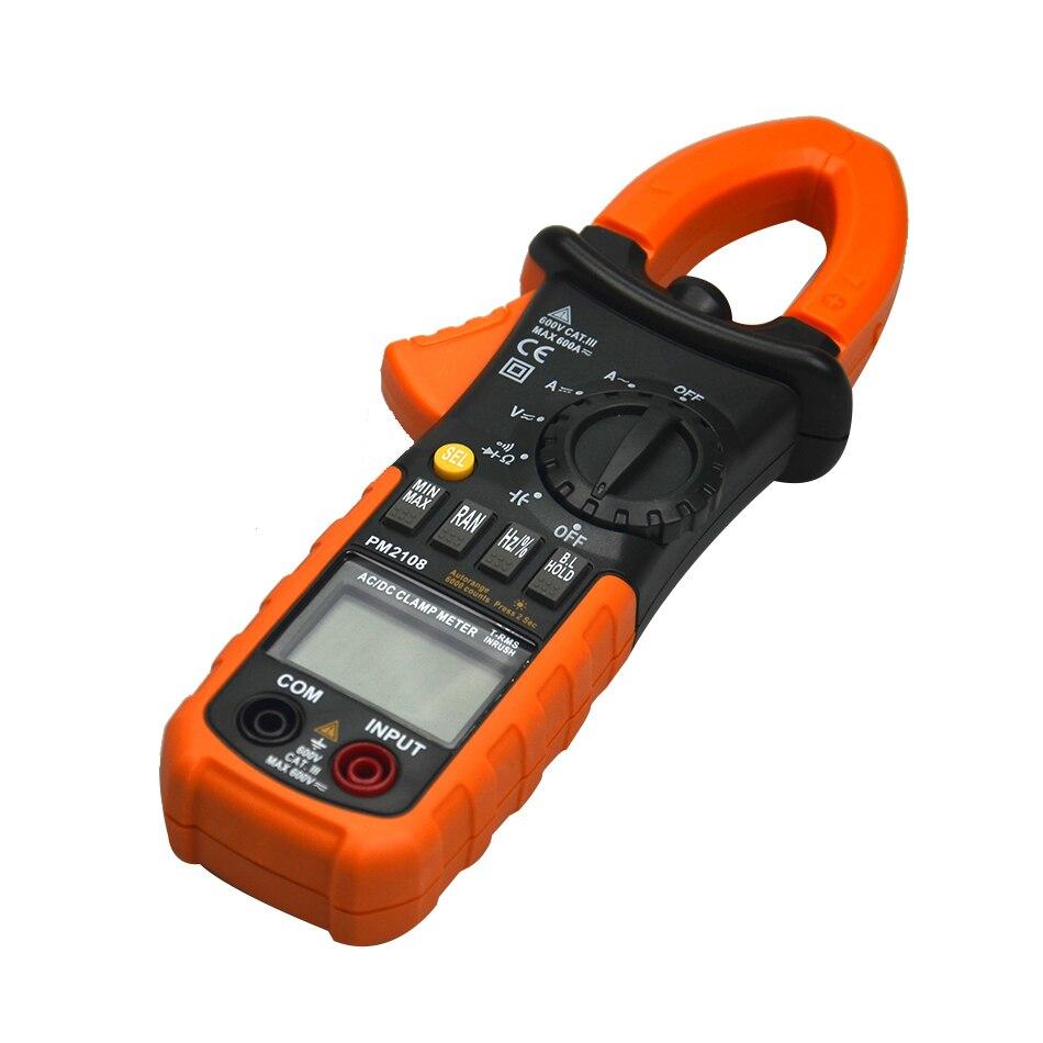 PM2108 Numérique Pince Multimètre Vrai RMS LCD Multimètre AC DC Voltmètre Ampèremètre Ohm Herz. Duty Cycle Multi Testeur