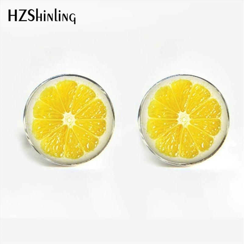HZShinling New Fashion Lemon Slice Cufflinks Glass Dome Red  Fresh Fruit Cufflink For Men Suits Shirt Cuff Link Accessories