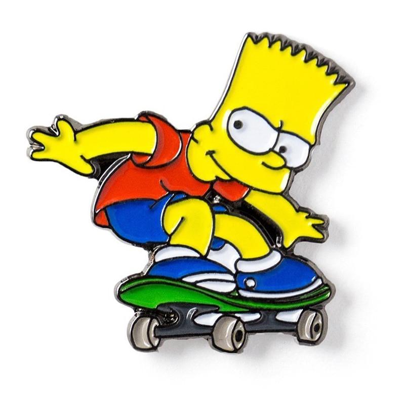 Bart Simpson skateboard enamel pin cute cartoon badge vintage funny creative gift jackets backpack decor Pins & Badges     - AliExpress