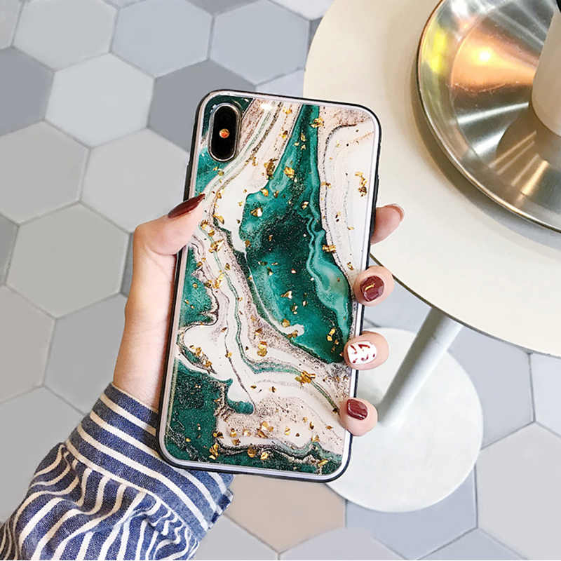 Fashion gold foils agate marble Case for iphone X XR XS XS Max Shiny soft silicone case for iphone 6 6s 7 8 Plus case cover