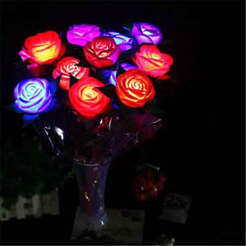 LED Light Up Rose Bouquet Lights Birthday Party Wedding Decoration Valentines Mothers Day Shining Flower Gifts