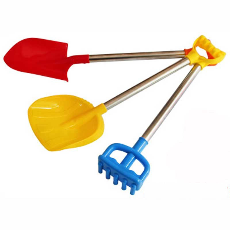 TikTok Brand New Big Plastic Stainless Steel Handle Sand Beach Shovel Sand Rake Doll Sand Beach Toy Doll Casual Fashion Toy