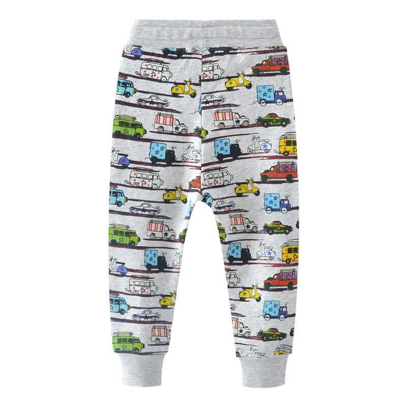 SAILEROAD 2-7Years Cartoon Car Pattern Boys Full Length Pants Spring Autumn Baby Kids Casual Pants Cotton Children Boy's Trouser 2