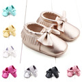 2016Hot PU Suede Leather Newborn Baby Girl Bowknot Moccasins Soft Moccs Shoes Bebe Fringe Soft Soled Non-slip Footwear Crib Shoe