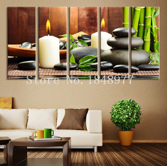 5 pieces modern wall art oil painting spa stone bamboo for Home decoration pieces
