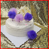 2016 Free Shipping Lavender And Violet Tulle Pompom Cake Toppers 6 Pieces Per Lot Bridal Shower