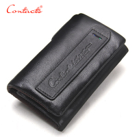 CONTACT S 2017 Vintage Crazy Horse Leather Men Wallets Multi Functional Cowhide Key Purse Genuine Leather