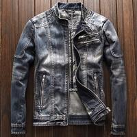 New Arrivals 2018 Automotive Mens Denim Jacket and Coats 3XL Outerwear Overcoat Biker Mens Jeans Coats Streetwear Vintage A195