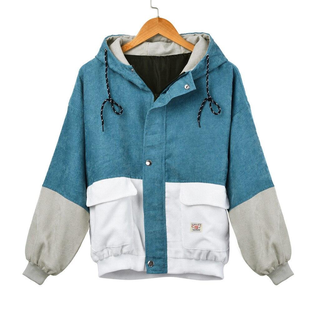 CHAMSGEND femmes manches longues velours côtelé Patchwork Oversize veste à glissière coupe-vent manteau pardessus mode court manteau Au7