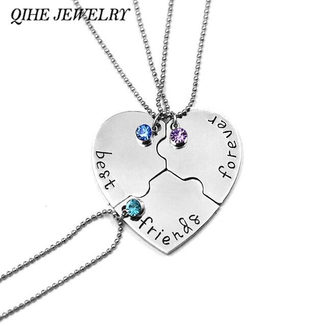 Qihe jewelry 3 pcsset best friends forever rhinestone broken qihe jewelry 3 pcsset best friends forever rhinestone broken heart shape bff mozeypictures Choice Image