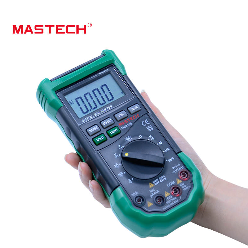 MASTECH MS8268S Auto Range Digital Multimeter Full protection ac/dc ammeter voltmeter ohm Frequency electrical tester vc99 auto range 3 6 7 digital multimeter 20a resistance capacitance meter voltmeter ammeter alligator probe thermal couple tk