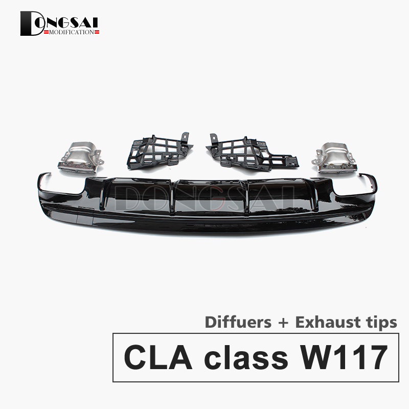 CLA45 Style Diffusers with 4 outlet Exhaust tips Rear tips Replacement AMG styling parts for Mercedes w117 C117 X117