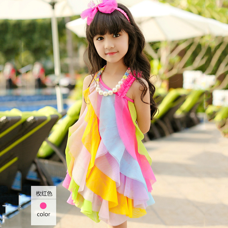 2015 Age 3 7 Baby Girl Children Party Dresses 100 Cotton -6939