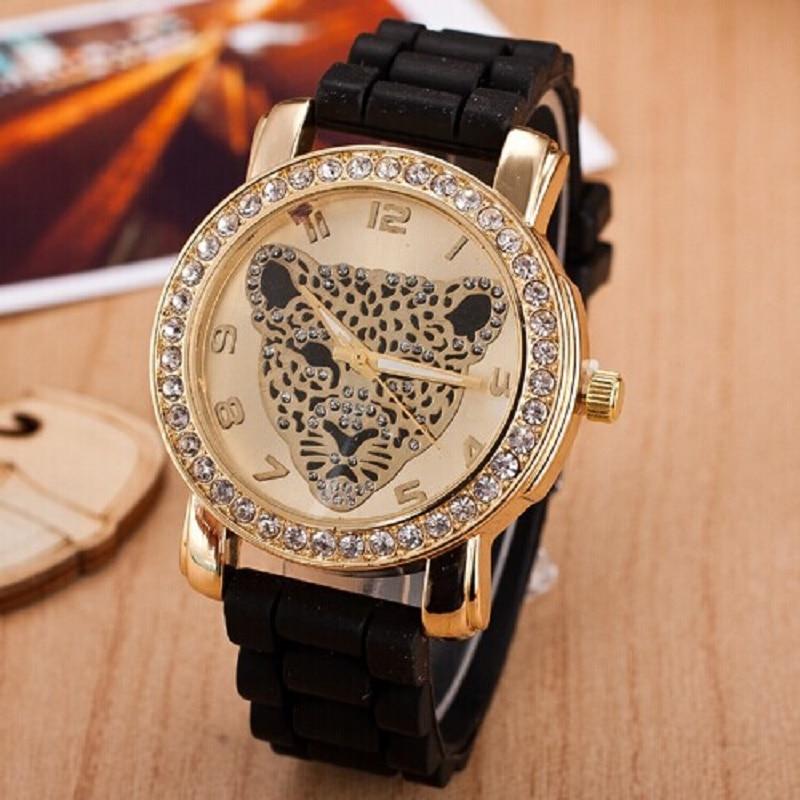 Fashion Women Watch Leopard Head Rhinestone Quartz Wa