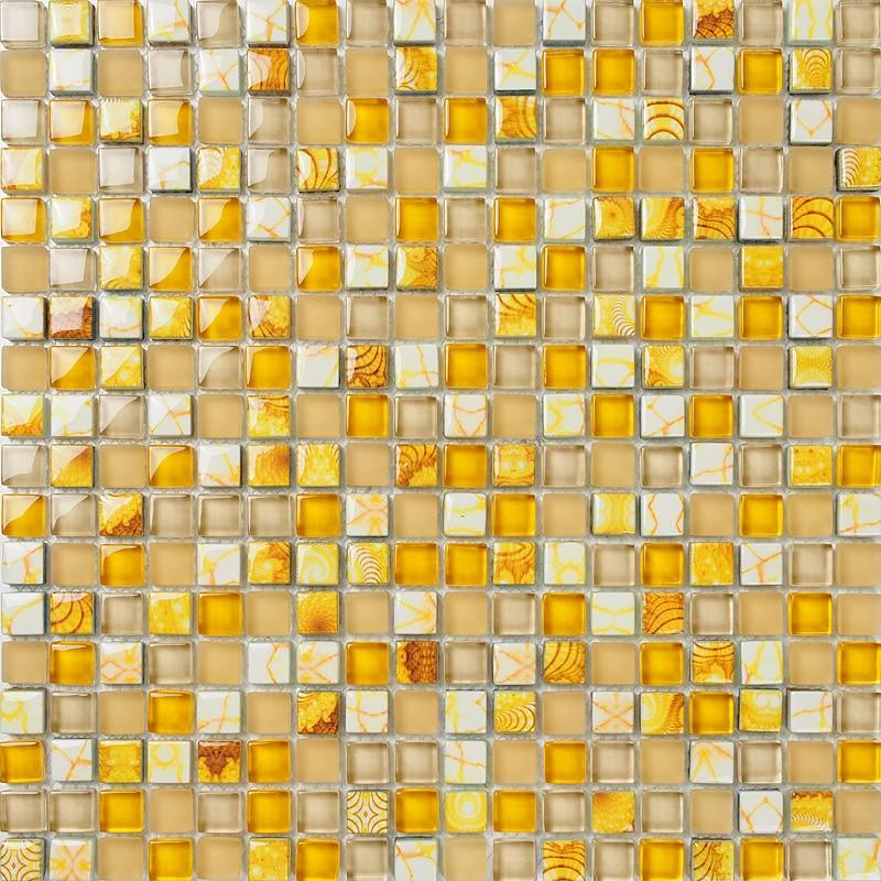 Giallo mosaico di vetro di cristallo ehgm1008d per piastrelle della doccia bagno parete mosaico - Mosaico per cucina ...
