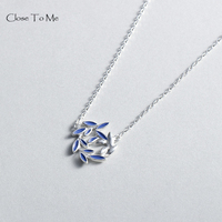 Close To Me Real S925 Silver Pendant Necklace Blue Drop Oil Garland Pendant for Women Elegant Irish Fine Jewelry Lovers'Gift