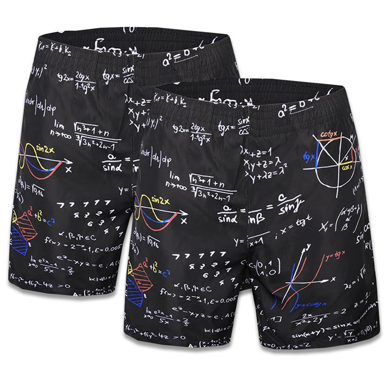 3D Creative Math Beach Shorts Men Casual Elastic Band Board Shorts Fitness Summer Mens Shorts Black Boys