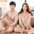 Rosa Conjuntos de Pijama Pijamas de Seda Das Mulheres Com Decote Em V Lace Pijamas Plus Size Pijamas De Seda Dos Homens Turn-down Collar Sleepwear Homewear