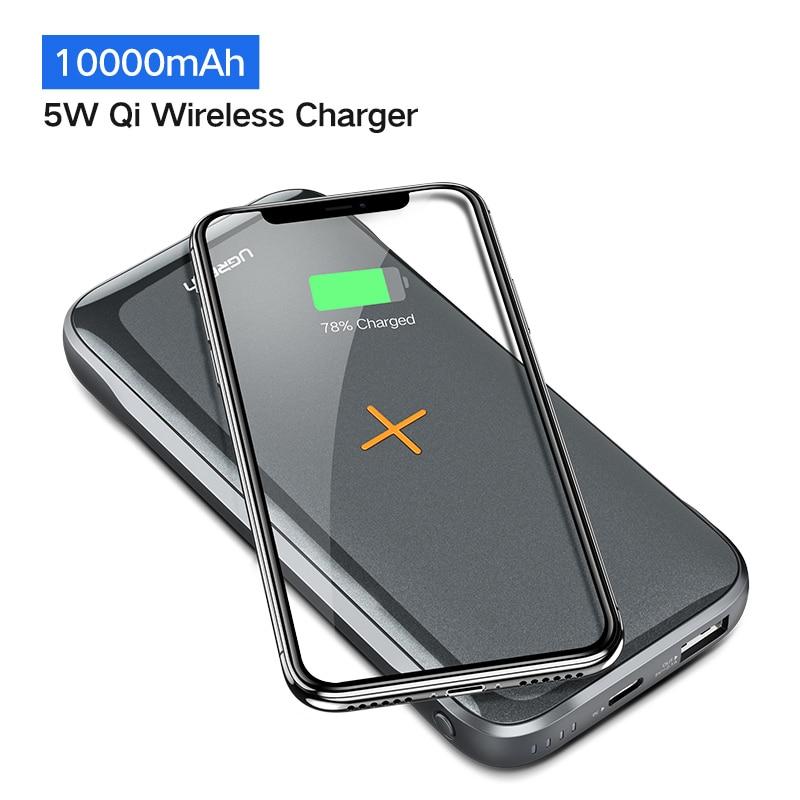 Ugreen 10000 mAh Qi Sans Fil Chargeur batterie externe Pour iPhone XS X 8 Xiaomi 3A Double USB batterie externe Sans Fil De Charge Powerbank