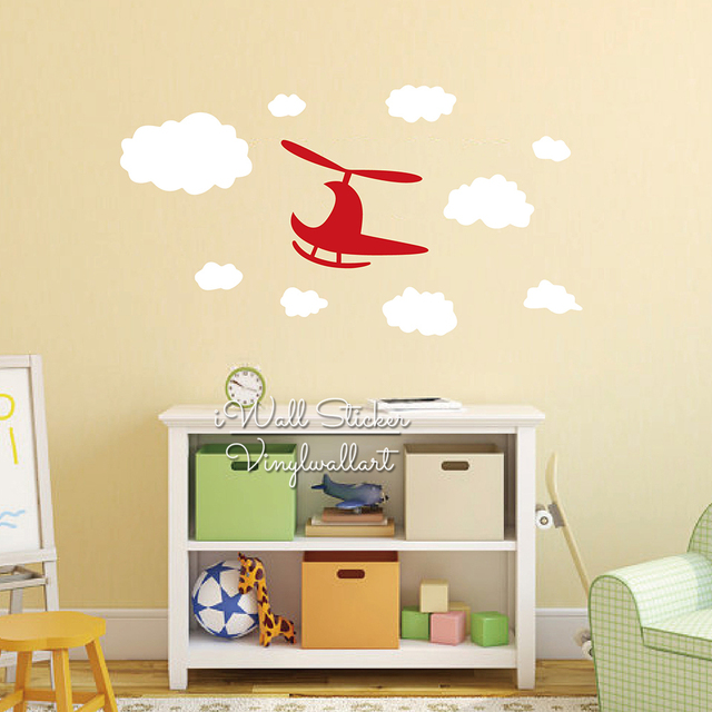 Enfants Avion Wall Sticker Nuages de Bande Dessinée Avion Sticker ...