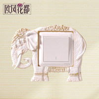 European elephant paste resin decorative wall socket set of Korean character light switch cover