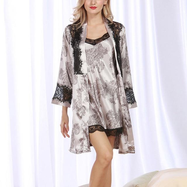 Frauen Kimono Robe Sets Langarm Nachtwäsche Floral Bademäntel Sets ...