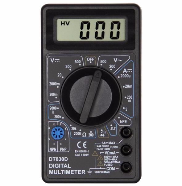 100pcs by dhl fedex Digital Multimeter AC DC Buzzer Voltmeter Ammeter Voltage Ampere Meter DT830D Tester with  Leads  LCD probe 12