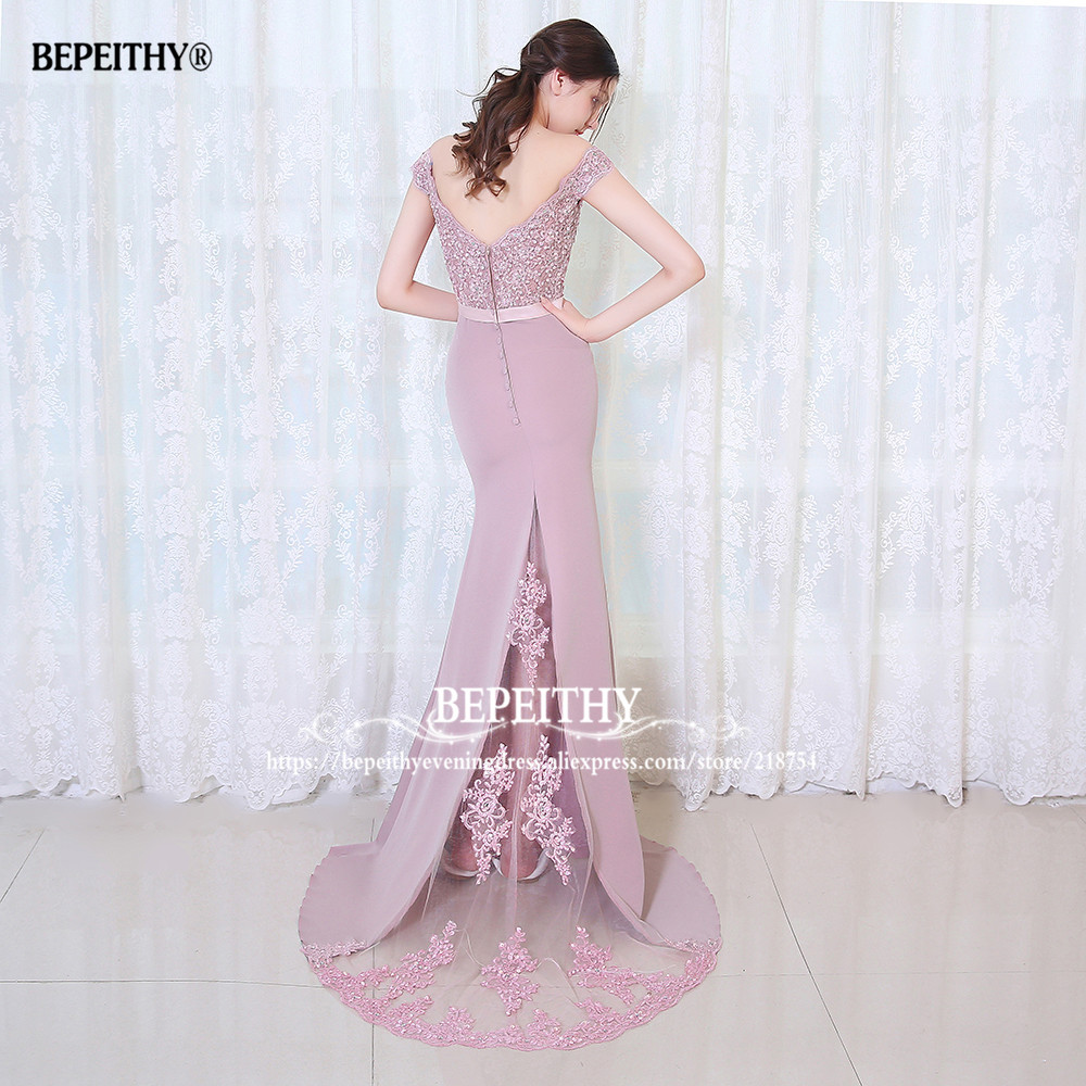 BEPEITHY Robe De Soiree Mermaid Burgundry Long Evening Dress Party - Հատուկ առիթի զգեստներ - Լուսանկար 6