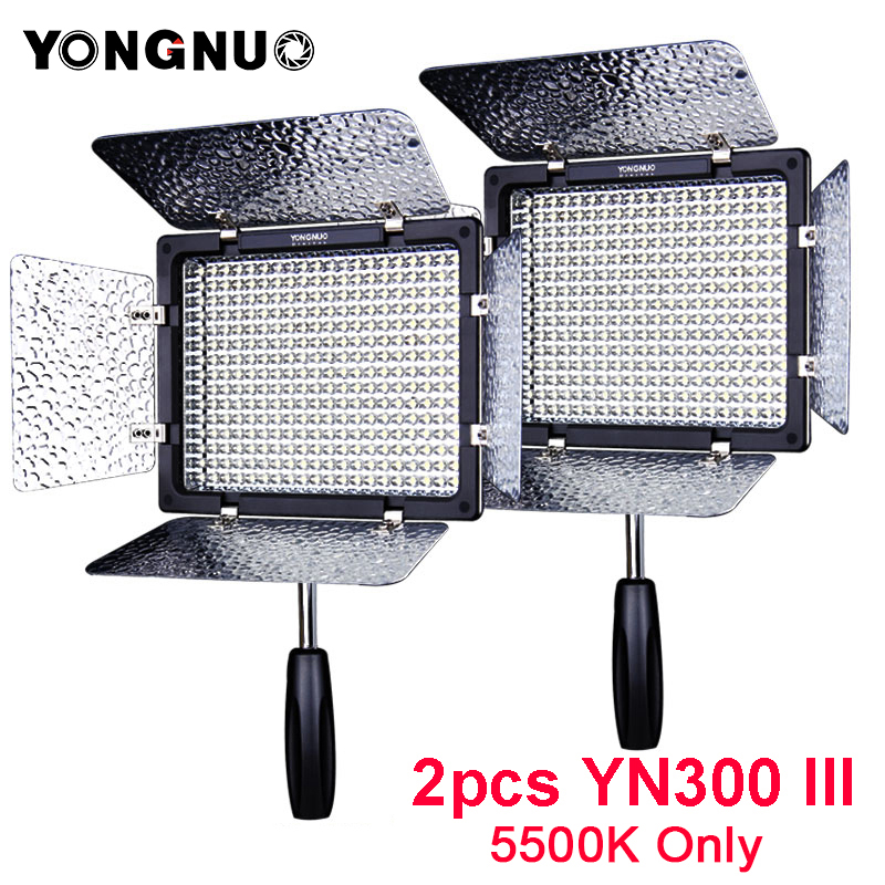 2pcs YONGNUO YN300 III 5500K LED Light On Camera Video Lighting for Wedding Photo Studio Video panel lamp YN300III Studio Lamp цена 2017