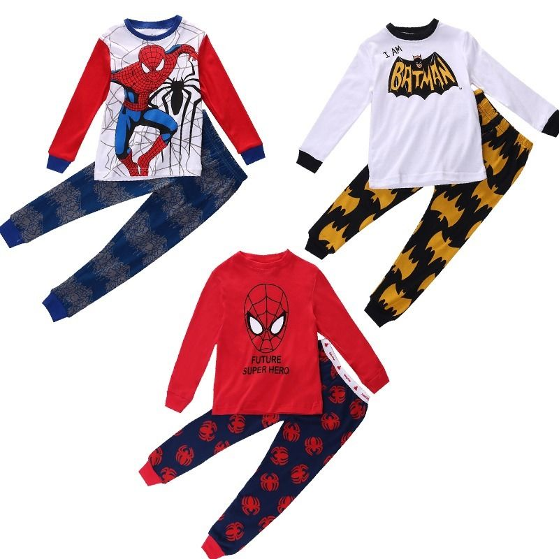 2Pcs Set Baby Kids Boys Spiderman Batman Long Sleeve Pajamas Children Boy Cartoon Hero Sleepwear Clothes Nightwear Pyjamas