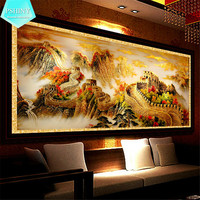 PSHINY 5D DIY Diamond Embroidery Landscape Needlework Full Square Rhinestone Great Wall Pictures Cross Stich Home