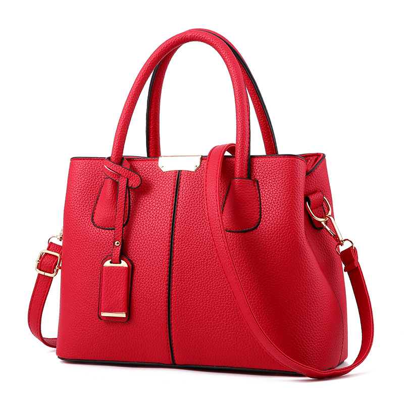 new pu leather shoulder bag women casual leisure handbag pure color business office work shoulder bags in Shoulder Bags from Luggage Bags