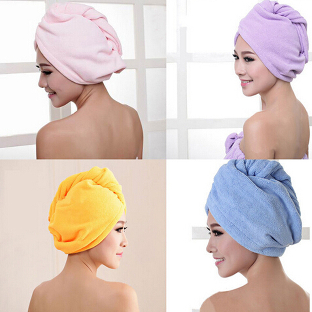Fashion Women Absorbent Microfiber Towel Turban Hair-Drying Shower Caps Ponytail Holder Bathing Cap Bathrobe Hat