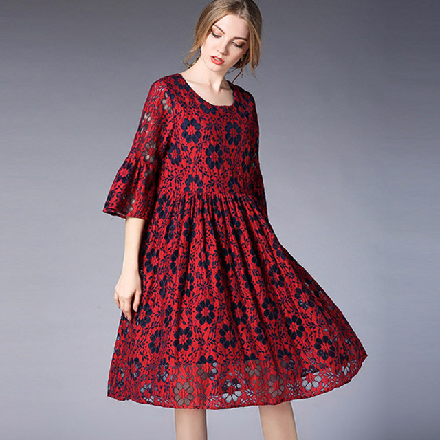 Spring 2018 Dresses 3xl For Women Red Short Lace Dress Plus Size