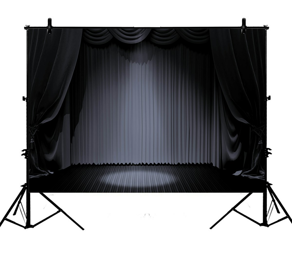5x7ft Stage Lights Black Curtain Vintage Retro Floor Theater Polyester Photo Background Portrait Backdrop