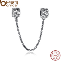 Gift Sterling Silver 925 Elegant Raindrops Pattern Safety Chain Charm Fit Pandora Bracelet Necklace Jewelry Accessories