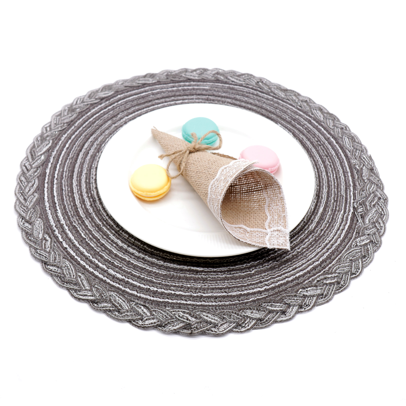 38cm Round Woven Placemat Dining Table Mats Non Slip Washable Kitchen Decor