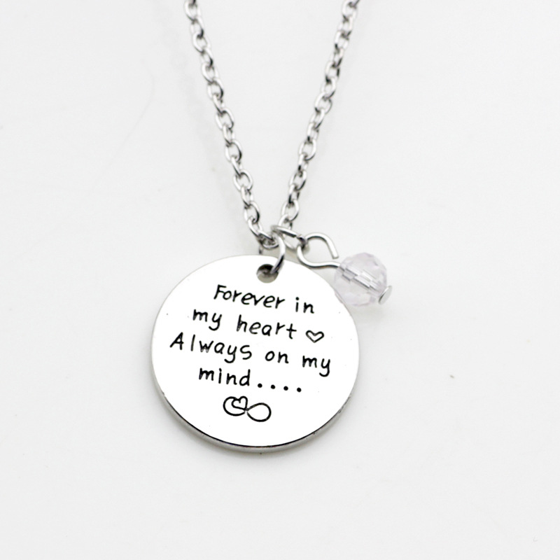10PCS Lettering forever in my heart always on my mind Necklace Jewelry Alloy Charm Accessories Jewelry For Christmas Gifts