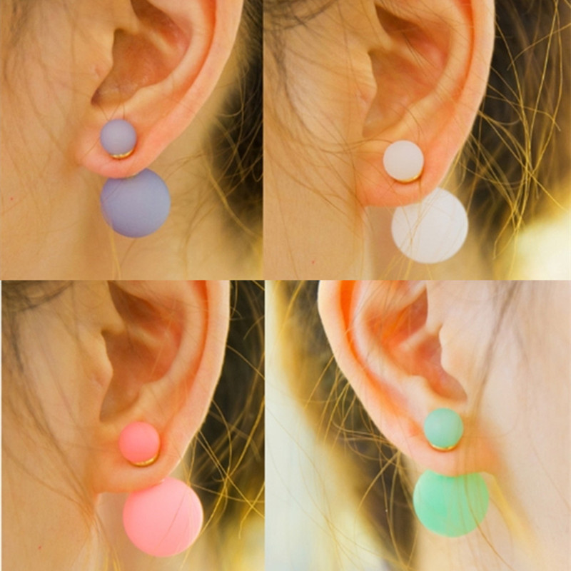 fashion Paragraph Hot Selling Fluorescent colors luminous simulated pearl earrings Double Side 16mm Stud Earrings Big