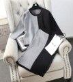 Das 2017 mulheres novas set moda patchwork misturas de cores define conjuntos de inverno feminino camisola de malha elástica saia ternos conjuntos femininos