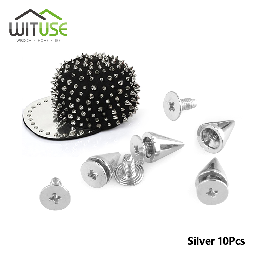 10pcs 10mm Silver punk rock studs and spikes for clothes metal bullet rivets for leather fashion accessory Garment Rivets
