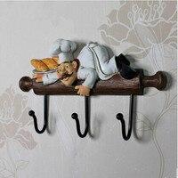 Original Antique Distress Wall Decoration Long Hooks Resin Clothes Bag Cap Three Hooks Antique iron craft cooking Hooks