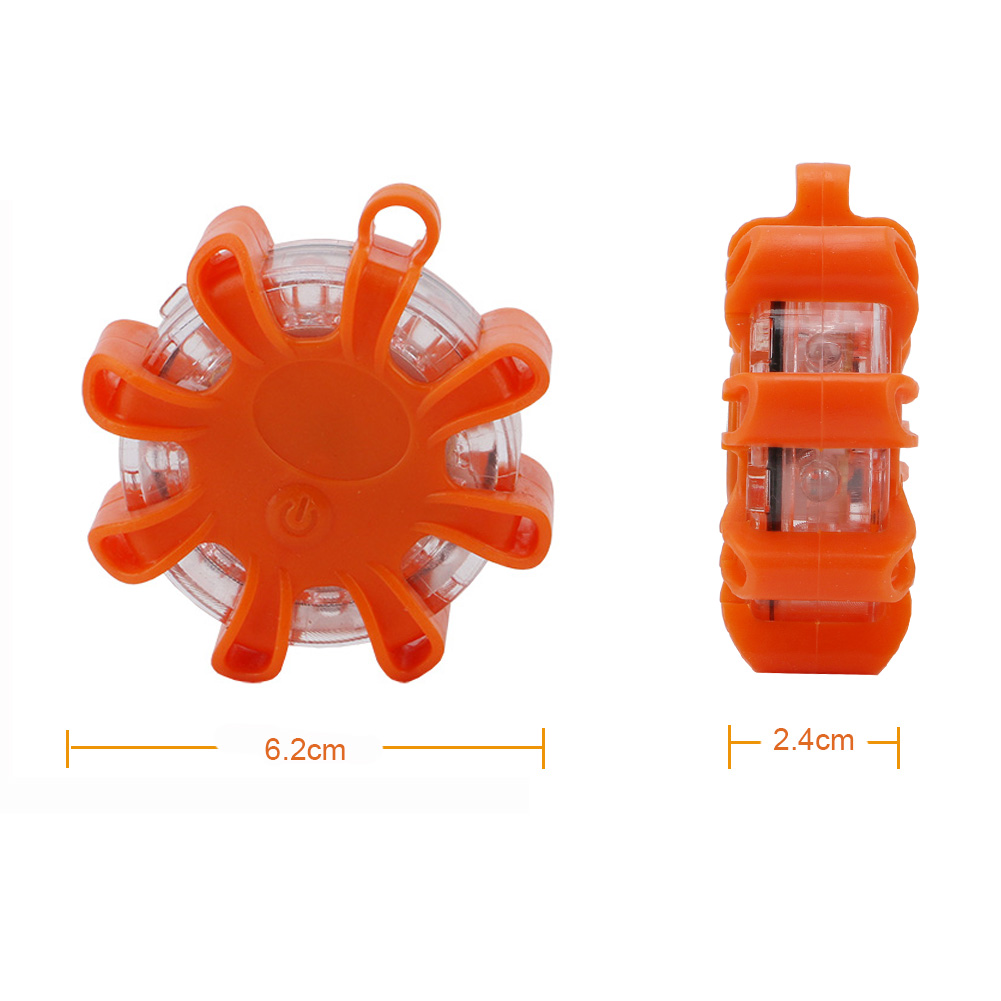 LED Road Flare Roadside Amber Safety Beacon Emergency Disc Strobe Warning Lights Waterproof with 9 kinds of Powerful Flashing Lights Magnetic Base for Car Truck Boat,with keychain screwdriver