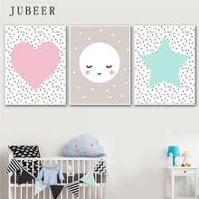 Set of 3 Prints Pink Mint moon Art Scandinavian Geometric Nursery Wall Art Girl Kids Room Poster and Prints For baby room(China)
